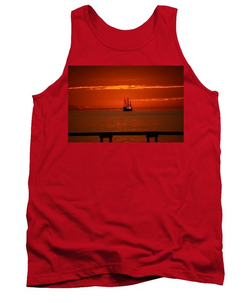 Two 3-masted Schooners Sail Off Into The Santa Rosa Sound Sunset Tank Top by Jeff at JSJ Photography