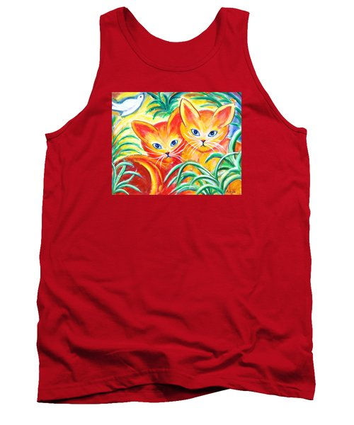 Tank Top featuring the painting Two Cats by Anya Heller