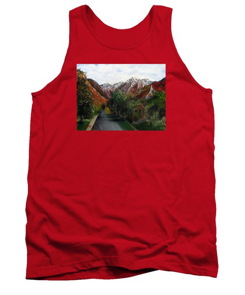 Wasatch Range Looking Up Binford St. Tank Top by LaVonne Hand