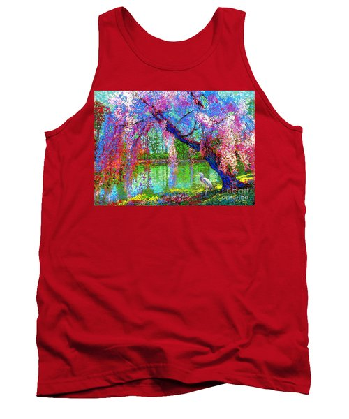 Weeping Beauty, Cherry Blossom Tree And Heron Tank Top