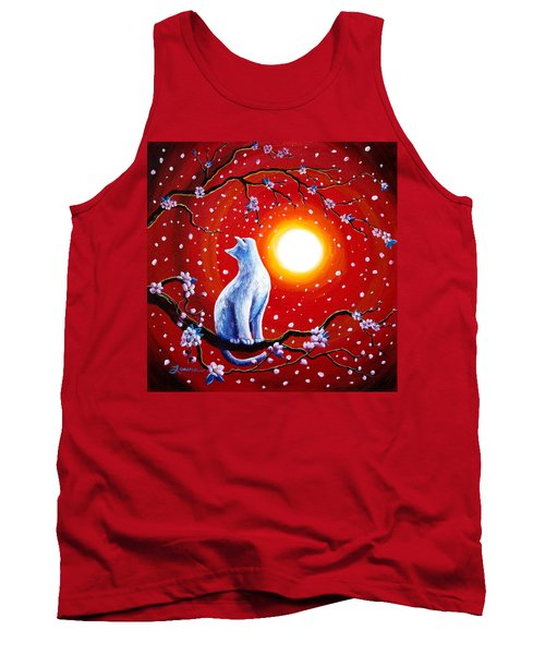 White Cat In Bright Sunset Tank Top by Laura Iverson