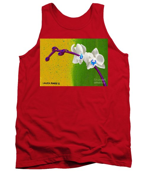 Tank Top featuring the painting White Orchids On Yellow And Green by Laura Forde