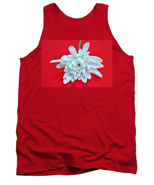 White Flower On Bright Red Background Tank Top
