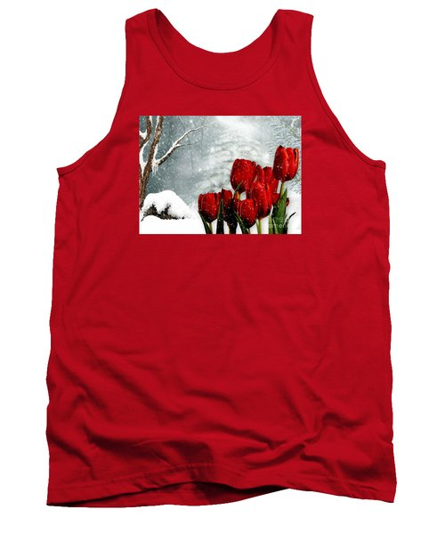 Tank Top featuring the mixed media Winter Tulips by Morag Bates