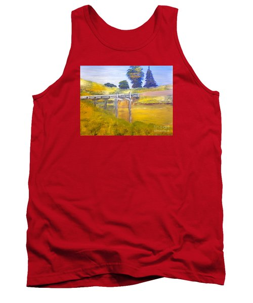 Tank Top featuring the painting Wooden Bridge At Graften by Pamela  Meredith