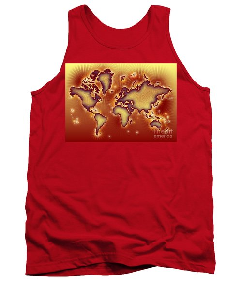 World Map Amuza In Red And Yellow Tank Top by Eleven Corners