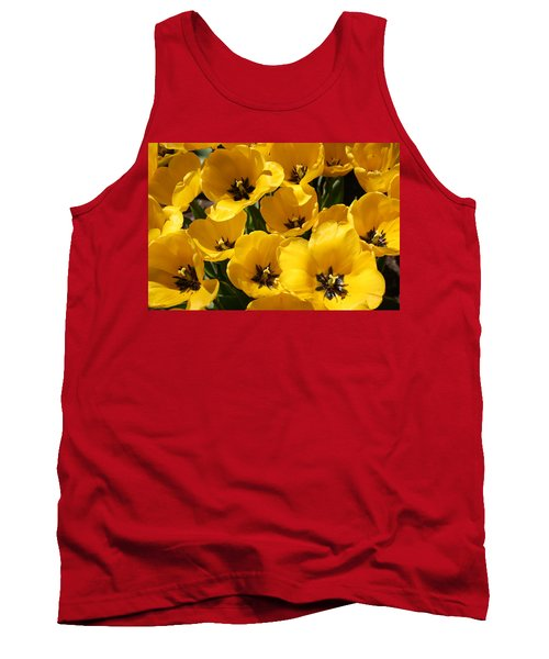 Tank Top featuring the photograph Golden Tulips In Full Bloom by Dora Sofia Caputo Photographic Art and Design