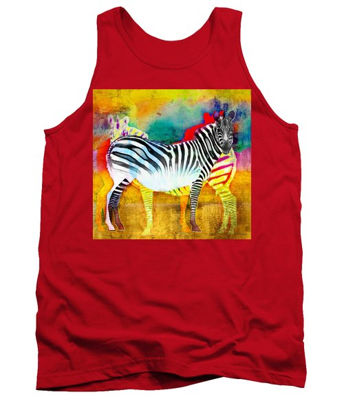 Zebra Colors Of Africa Tank Top by Barbara Chichester