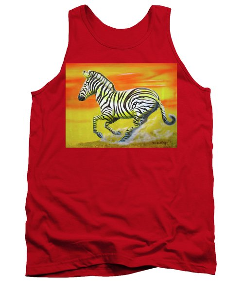 Zebra Kicking Up Dust Tank Top