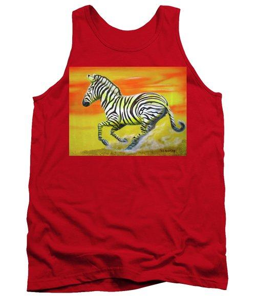 Zebra Kicking Up Dust Tank Top