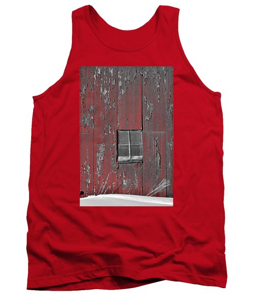 Zink Rd Barn Window Bw Red Tank Top