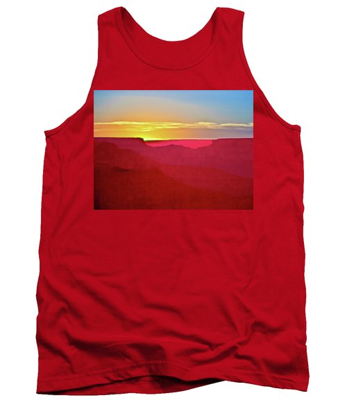 Tank Top featuring the painting   Sunset At Grand Canyon Desert View by Bob and Nadine Johnston