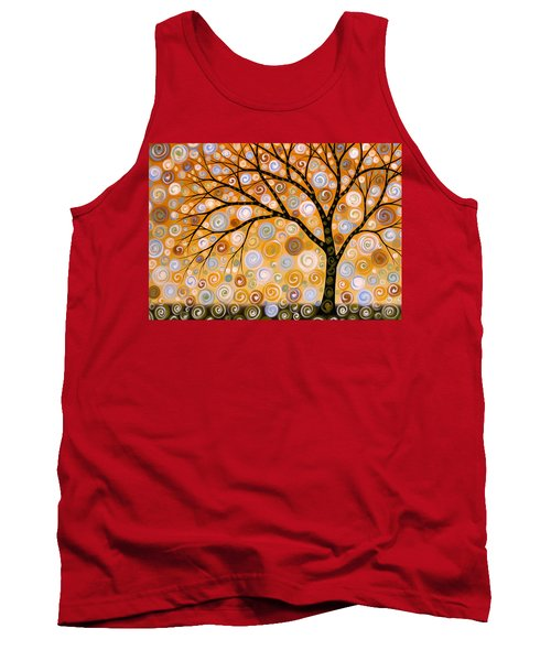 Abstract Modern Tree Landscape Dreams Of Gold By Amy Giacomelli Tank Top by Amy Giacomelli