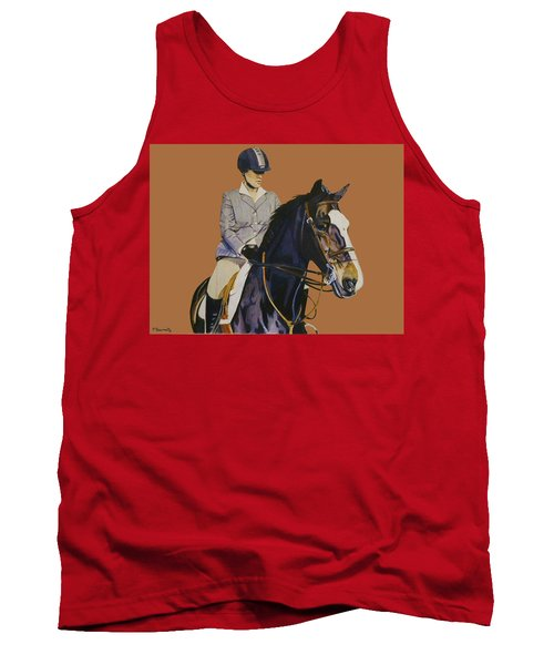 Concentration - Hunter Jumper Horse And Rider Tank Top by Patricia Barmatz