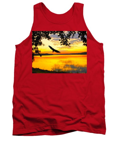 Tank Top featuring the photograph Eagle At Sunset by Randall Branham
