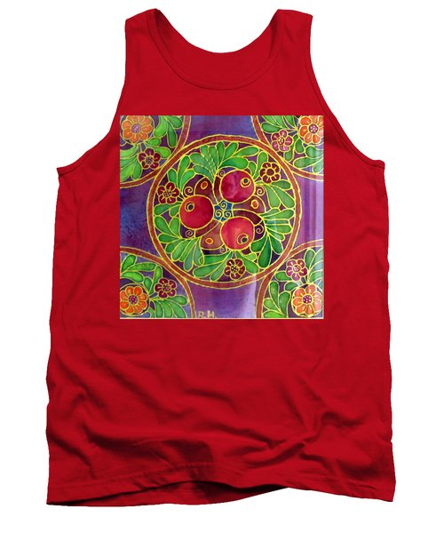 Festive Pomegranates In Gold And Vivid Colors Wall Decor In Red Green Purple Branch Leaves Flowers Tank Top by Rachel Hershkovitz