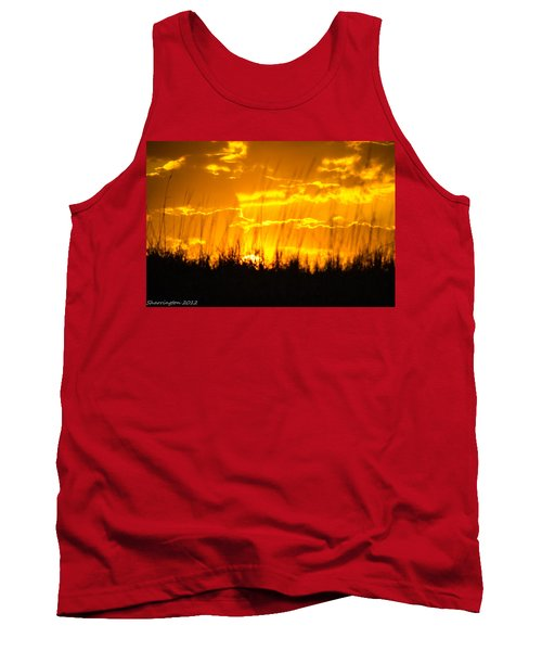 Tank Top featuring the photograph Firey Sunset by Shannon Harrington