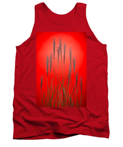 Fountain Grass In Red Tank Top