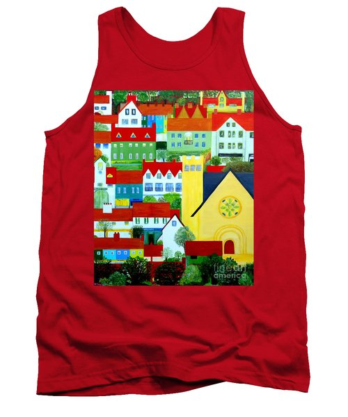 Tank Top featuring the painting Hillside Village by Barbara Moignard