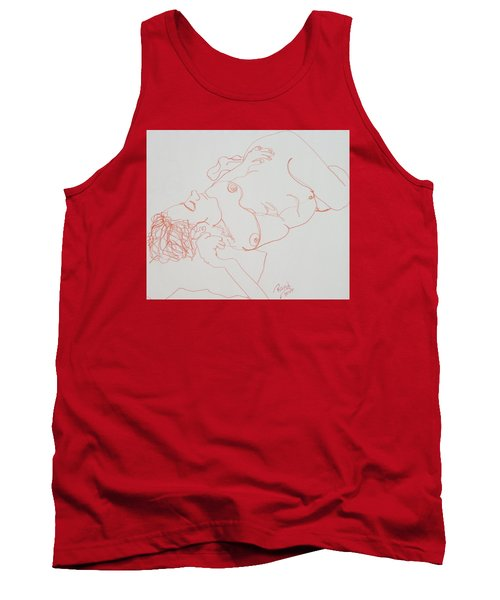Nude Resting In Red Tank Top by Rand Swift