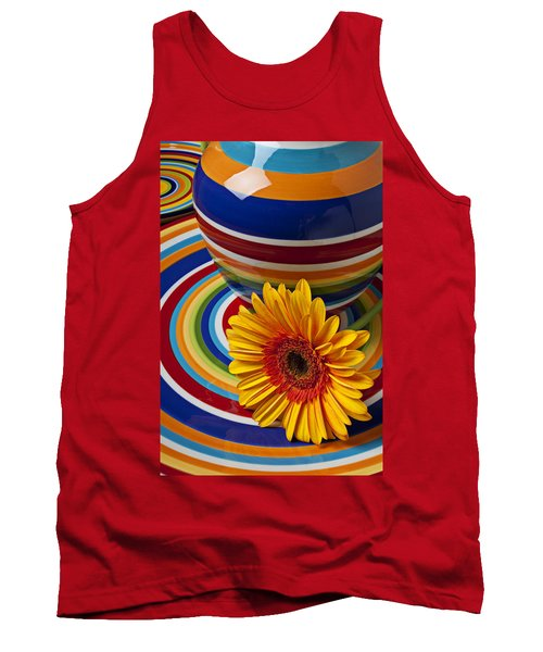 Orange Daisy With Plate And Vase Tank Top