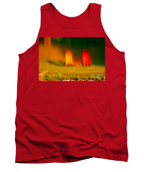 Tank Top featuring the photograph Red And Orange Chairs by Les Palenik