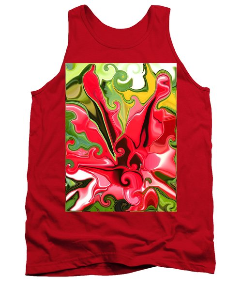 Red Fantasy Lily Tank Top by Renate Nadi Wesley