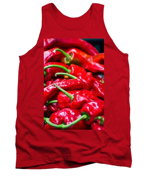 Tank Top featuring the photograph Red Peppers by Don Schwartz