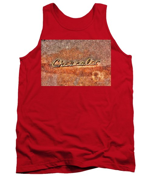 Rusted Antique Chevrolet Logo Tank Top by Dan Stone