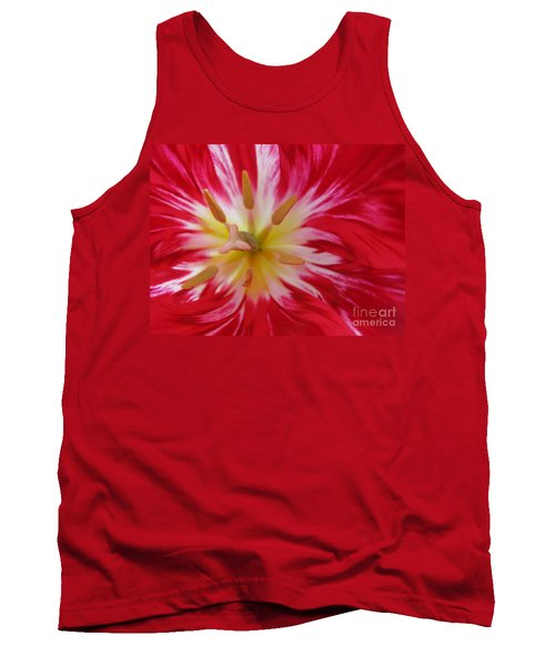 Striped Flaming Tulips. Hot Pink Rio Carnival Tank Top