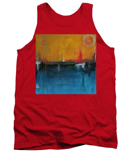 Tank Top featuring the painting Sunset At The Lake  # 1 by Nicole Nadeau