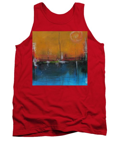 Tank Top featuring the painting Sunset At The Lake # 2 by Nicole Nadeau