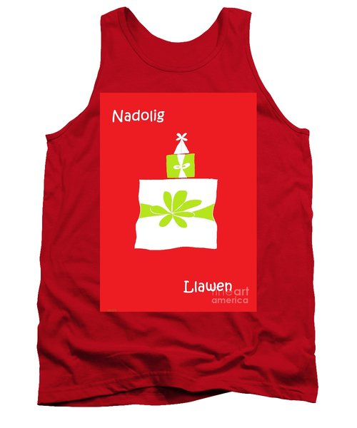 Tank Top featuring the digital art Welsh Merry Christmas Red by Barbara Moignard