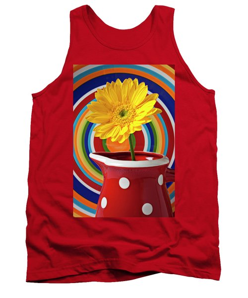 Yellow Daisy In Red Pitcher Tank Top