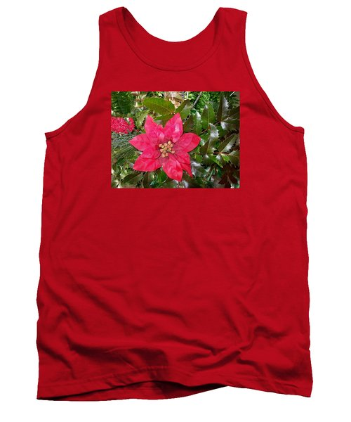 Christmas Poinsettia Tank Top by Sharon Duguay
