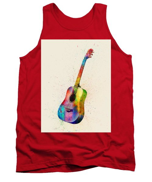 Acoustic Guitar Abstract Watercolor Tank Top