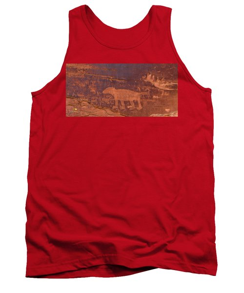 Tank Top featuring the photograph Ancient Native American Petroglyphs On A Canyon Wall Near Moab. by Jim Thompson
