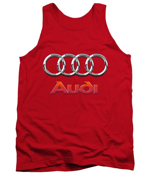 Audi - 3d Badge On Red Tank Top by Serge Averbukh