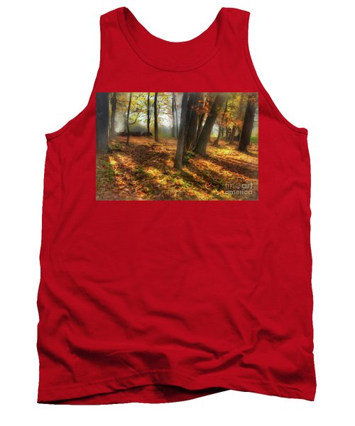 Tank Top featuring the painting Autumn Shadows In The Blue Ridge Ap by Dan Carmichael