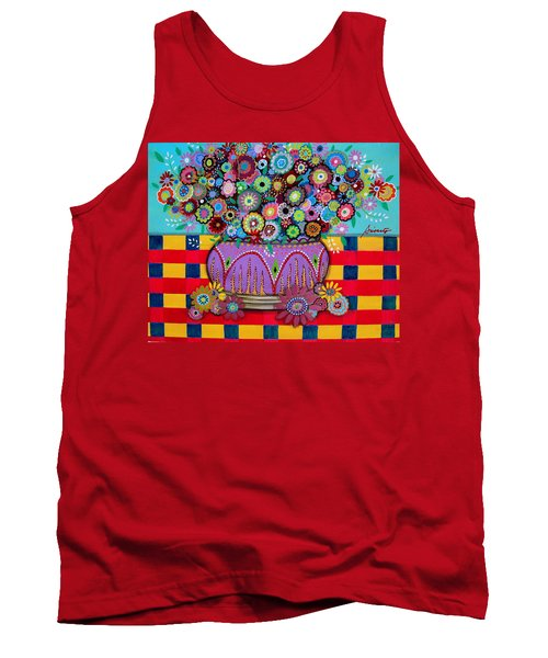 Tank Top featuring the painting Blooms by Pristine Cartera Turkus