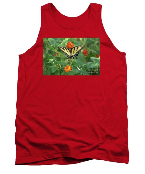 Butterfly And Flower Tank Top by Debra Crank