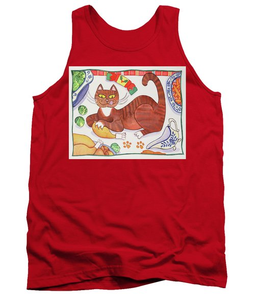 Christmas Cat And The Turkey Tank Top