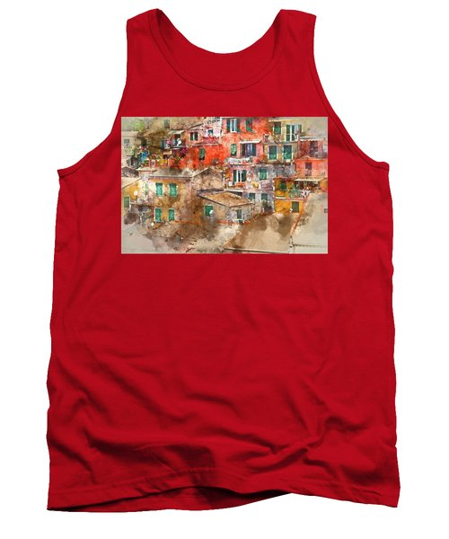 Colorful Homes In Cinque Terre Italy Tank Top