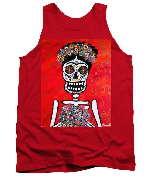 Tank Top featuring the painting Frida Dia De Los Muertos by Pristine Cartera Turkus