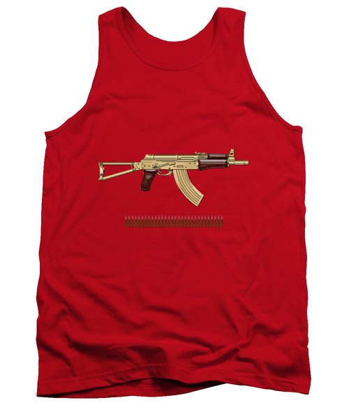 Gold A K S-74 U Assault Rifle With 5.45x39 Rounds Over Red Velvet   Tank Top