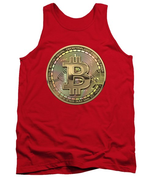 Gold Bitcoin Effigy Over Red Canvas Tank Top