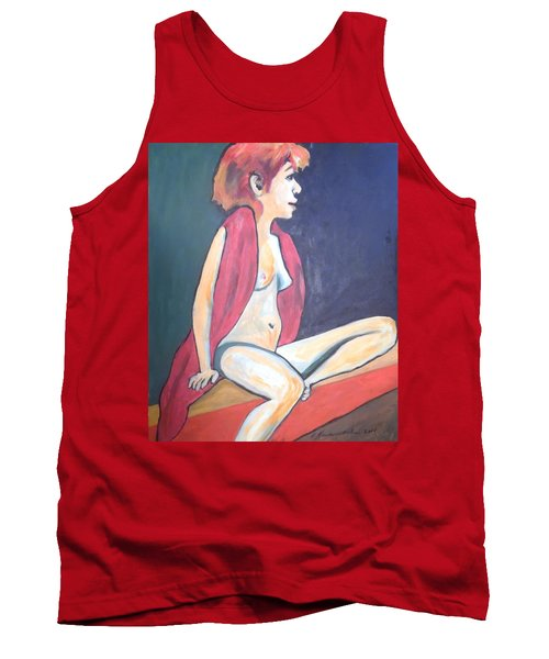 Tank Top featuring the painting Nude With Red Shawl by Esther Newman-Cohen
