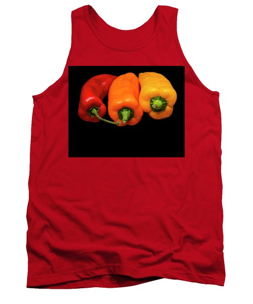 Tank Top featuring the photograph Peppers Red Yellow Orange by David French
