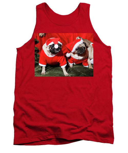 Pugs Dressed As Father Christmas Tank Top