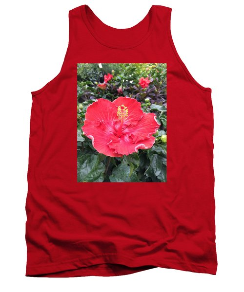 Red Hibiscus Tank Top by Kay Gilley